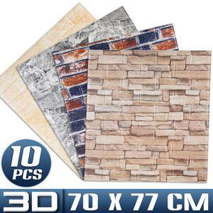 10 tlg 3D Tapete Selbstklebend Steinoptik Wandpaneele 70x77cm Ziegelstein Wandaufkleber, Schwarz Rot Backstein