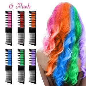 Für Mädchen, 6 Stück Haarfarbe Kamm, Temporär Haarfarbe Kreide Kamm für Kinder Haarfärbemittel, Party und Cosplay