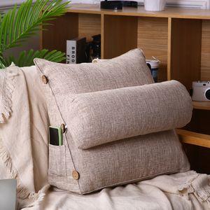 Rückenkissen mit Nackenrolle abnehmbar Rückenstützkissen Rückenlehne Khaki 60cm Khaki