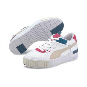 PUMA Damen Sneaker - CALI SPORT MIX WN'S, Schnürung, Leder, Training, Fashion, Logo Weiß/Pink/Blau EU 39