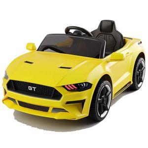 GT Raptor 2x Motoren 12V Elektro Kinderauto elektrisch Kinder Elektroauto mit Fernbedienung und öffnenden Türen (Gelb)