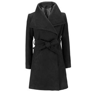 Damen Langmantel Warme Wolle Revers Trench Jacke Strickjacke Langer, schmaler Mantel Größe:XXL,Farbe:Schwarz