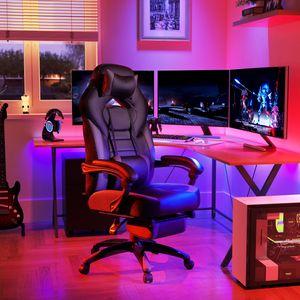 SONGMICS Bürostuhl Cheffsessel Schreibtischstuhl Racing Stuhl bis zu 150 kg belastbar ergonomisches Design schwarz-grau OBG77BG