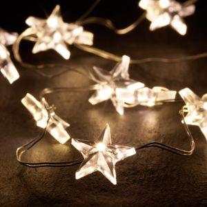 Lumineo 483750 LED Draht Stern 60er Micro LED Lichterkette inkl. Timer Sterne warmweiß Batterie