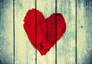ECZJNT 150x220 cm Holz Fotografie Hintergründe Rotes Herz Hintergrund 1950er Jahre Retro-Stil für Hintergrundfotografen