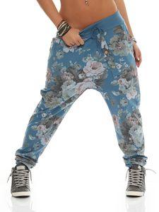 130 Damen Hose Cargohose Blumen Sweatpants Jogginghose Baumwolle Freizeithose Boyfriend Baggy Blumenprint mit Gummibund  Hellblau