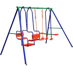 SPIELWERK Schaukelgerüst für bis zu 5 Kinder | 250kg Traglast | Schutzprotektoren |mit Montagematerial & Bodenanker | Kinderschaukel Spielgerüst Gartenschaukel Schaukelgestell