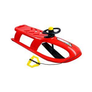 Kinderschlitten Bullet Control rot, Kunststoff, lenkbar, Kufe, Lenkrad mit Hupe