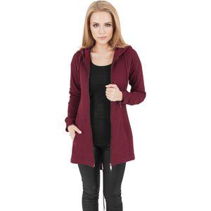 URBAN CLASSICS LADIES SWEAT PARKA MIT KAPUZE SCHWARZ GRAU BURGUNDY , Größe:L, Farbe:burgundy