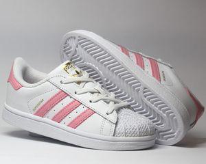 adidas Originals Superstar I Kinder Sneaker Weiß/Rosa Schuhe, Größe: 26
