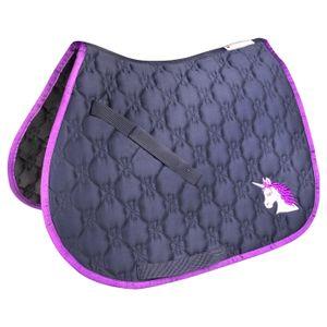 Schabracke Lucky Unicorn für Kleinpferde, dunkelblau, Größe:Shetty