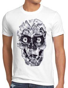 style3 DJ Skull Herren T-Shirt Tape 80er tape 80er kassette totenkopf, Größe:XXXL, Farbe:Weiß