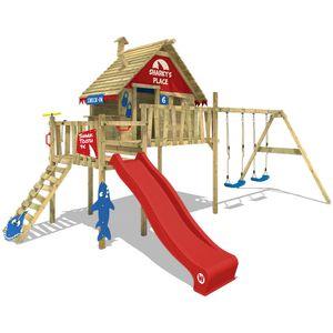 WICKEY Spielturm Klettergerüst Smart Bay mit Schaukel & roter Rutsche, Stelzenhaus mit Kletterleiter & Spiel-Zubehör