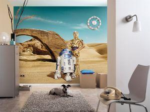 """Komar Fototapete """"Star Wars Lost Droids"""", blau/beige/gold, C-3PO, R2D2, 368 x 254 cm"""