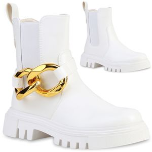 VAN HILL Damen Stiefeletten Plateau Boots Ketten Stiefel Profilsohle Schuhe 837672, Farbe: Weiß, Größe: 37