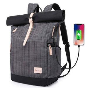 Laptop Rucksack Tasche Daypack Diebstahlsicherung Tagesrucksack Daypack Mode Rucksack Roll Top Rucksack mit USB fur 15.6 Zoll Notebook Damen Herren (Gitter Grau)