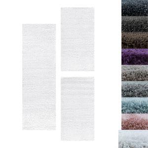 Hochflor Shaggy Set Teppich Bettumrandung Läufer Läuferset Weich 3 Teile, Farbe:Weiss, Bettset:2 mal 60x110 + 1 mal 80x250