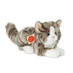 Teddy-Hermann Katze liegend grau, ca. 20cm