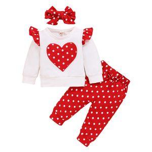 3 Stück Babykleidung Set Mädchen Langarmshirt Bluse Top+Polka Dots Hose+Bowknot Stirnband Neugeborene Kleinkinder Kleidung 12-18 Monate (80-86) Farbe:Weiß+Rot