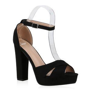 Mytrendshoe Damen Plateau Sandaletten Blockabsatz Party Schuhe High Heels 830733, Farbe: Schwarz, Größe: 38