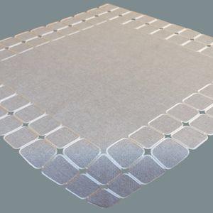 Tischdecke 85 x 85 cm hellgrau ecru Kurbelstickerei Quadrate