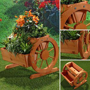 Pflanzkübel mit Wagenräder aus Holz Garten Dekoration Blumentrog Holzkasten
