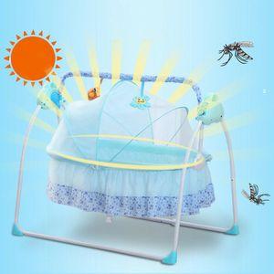 Deluxe Elektrisches Baby Schaukel Stubenwagen Wiege Babybett Babywippe Babyschaukel Bett Kinderbett Space Safe Krippe Wiege 12 Musik Bluetooth + MP3 + USB für 0-18 Monate Baby Schlafen Blau