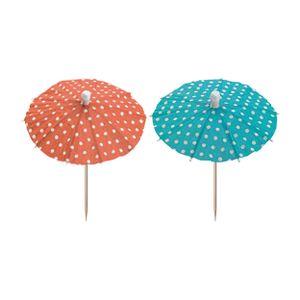 200 Deko-Picker 10 cm farbig sortiert  Eisschirmchen Dots