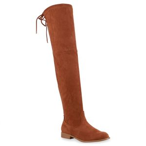 Mytrendshoe Damen Overknees Stiefel Boots Langschaftstiefel 825731, Farbe: Tan, Größe: 36