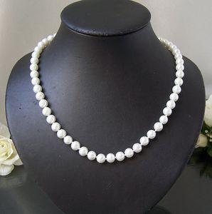 K2608# Perlencollier weiss Kette Collier Halskette Perlen 48cm NEU