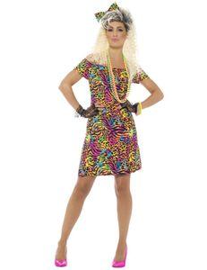 Damen Kostüm 80er Jahre Party neon Kleid Karneval Fasching Gr. M