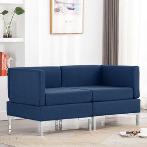 2er Set Modular-Ecksofas mit Auflagen Stoff Blau, Wohnlandschaft-Sofa, Couch, Relaxsofa Moderne