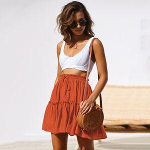 y Sommer Frauen Hohe Taille Gefaltete Mini Rock Einfarbig Kordelzug Elastische Hohe Taille Ausgestelltes Skater Rock