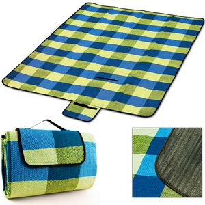 DEUBA®  Picknickdecke XXL 200x200cm Campingdecke Reisedecke Stranddecke Picknick, Farbe:hellblau und gelb
