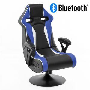 WOHNLING® Soundchair SPECTER II in Blau-Weiß-Schwarz mit Bluetooth | Racing Musiksessel eingebaute Lautsprechern | Multimediasessel Gamer | 1.1 Soundsystem - Subwoofer | Music Sessel Rocker Chair