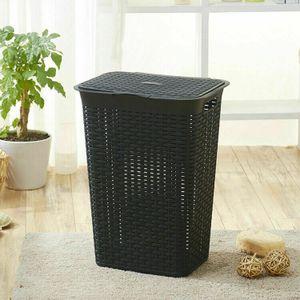 Wäschebox 85 Liter Wäschekorb Wäschetonne Wäschetruhe mit Deckel  Schwarz