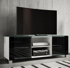"""VCM Premium TV-Lowboard Schrank Fernsehtisch rollbar TV Schrank Holz """"Luxala"""" Weißlack"""