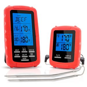 2PCS  Digital Grillthermometer Fleischthermometer BBQ Thermometer Funk Bratenthermometer mit 2 Fühler - Rot