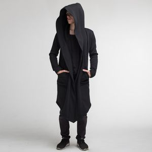 Herren Langer Kapuzenpullover Umhang Einfarbige Jacke Mit Kapuze Langarm,Farbe: Schwarz,Größe:L