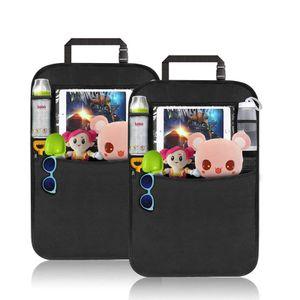 2 Stück Rückenlehnenschutz Auto,Premium Rücksitz Organizer + Taschen & Tablet iPad Fach Sitzschutz wasserdicht