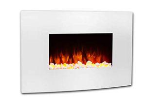RICHEN Elektrokamin Enjo - Wandkamin Mit Heizung, LED-Beleuchtung, 3D-Flammeneffekt & Fernbedienung - Weiß, 580 x 910 x 180