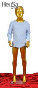 Kinder Schaufensterpuppe gold Schaufensterfigur Mannequin Kind Junge modelliertes Haar