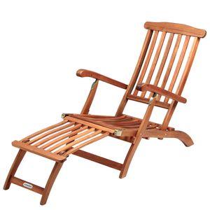 Sonnenliege Queen Mary Akazien Holz Verstellbare Rückenlehne Abnehmbares Fußsegment klappbar Sonnenstuhl Deckchair Holzliege Gartenliege Liegestuhl Liege