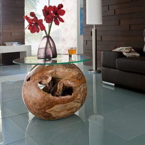 Teakholz UNIKAT Beistelltisch mit Holzkugel und Glasplatte B/H ca: 50/50cm