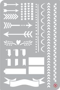"""Bullet Journal Schablone """"Pfeile und  Borten"""", Format 12 x 18 cm"""