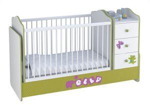 Polini Kids Kombi-Kinderbett Basic mit Kommode weiß grün Elly,1185-3