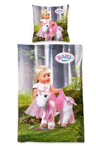 BABY Born Kinder-Bettwäsche für Mädchen mit Puppe und Einhorn, 100% Baumwolle, Größe:135 cm x 200 cm