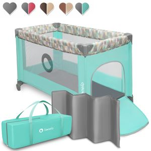Lionelo Adriaa Laufstall Baby Baby Bett Reisebett Baby ab Geburt bis 15 kg Seiteneingang Lockguard System und Blockade der Räder Tragetasche zusammenklappbar