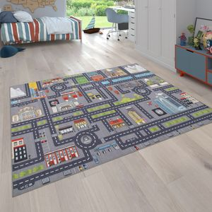 Spielteppich Kinderteppich Kinderzimmer Straßenteppich Auto Straßen Motiv, Grau, Grösse:200x290 cm