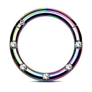 viva-adorno 1,2 x 10mm Segmentring Clicker Scharnier Septum Nasen Piercing Ring Kristall Zirkonia Z551, regenbogen